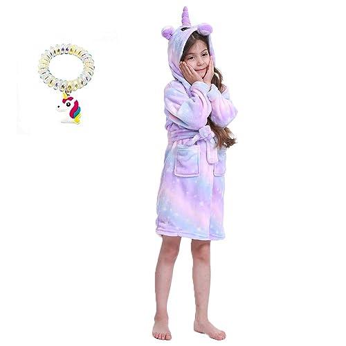 UsHigh Kids Unicorn Robe Girls Soft Plush Bathrobe Novelty Hooded Nightgown Gift