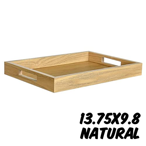 Markin Arts Rustic Series Distressed Swedish Solid Pine Wood Old Country Farmhouse Barnwood Reclaimed Primitive Kitchen Dining Table Coffee Tea Serving DIY Craft Decorative Display Tray Weathered Gray