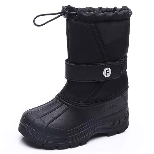 Boys Girls Waterproof Rain Snow Boots Kids Non-slip Winter Fur Warm Shoes