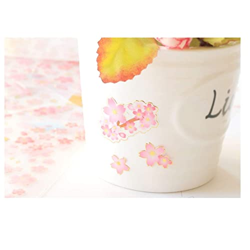 300 Pieces HighMount Cherry Blossoms Stickers 6 Sheets with Cherry Tree Mount Fuji Geisha Kinds of Japanese Cherry Blossoms Pink