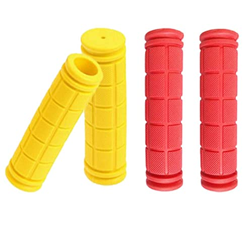 BlueSunshine The Comfiest Ergonomic Bicycle Handlebar Rubber Grips with Anti-Slip Contoured Design and Aluminum Alloy Inner Ring Clamps