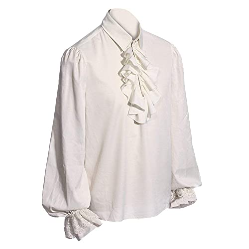 Mens Medieval Mercenary Jacobite Ghillie Tops Pirate Button Down Shirt Renaissance Cosplay Costume