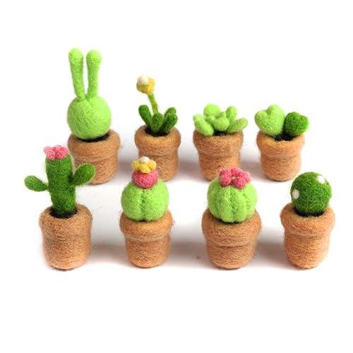 YSZ 3 Pack Cactus Beginner Felting Kits 70s Grade Merino Wool Roving 4x5cm