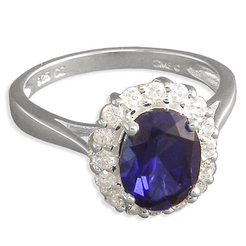 Solid Sterling Silver Kate Middletons Engagement Ring with Simulated Sapphire Blue Color Cubic Zirconia