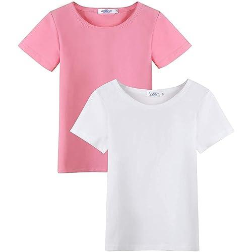 Arshiner Kids 2 Pack Short Sleeve Tees Girls Cotton Tees 2pcs Shirt for Tie Dye