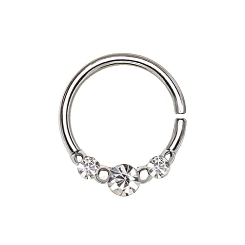 Buy Amelia Fashion 16 Gauge Cz Trio Nose Hoop Cartilage Ring