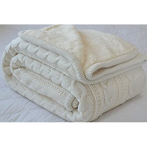 Luxury All Season Soft Cable Sweater Knitting Throw Blanket Quilt Throw with Sherpa Lining for Bed Sofa Couch Decor Dark Gray 51x67 Inch