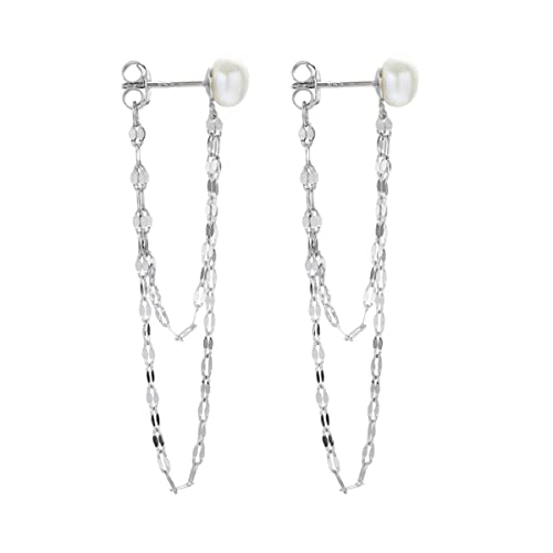 FarryDream 925 Sterling Silver Dangle Earrings for Women Teen Girls Elegant Pearl Earrings Chain