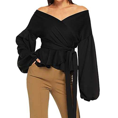 LuckyBB Women Summer Short Sleeve Strappy Cold Shoulder T-Shirt Tops Blouses