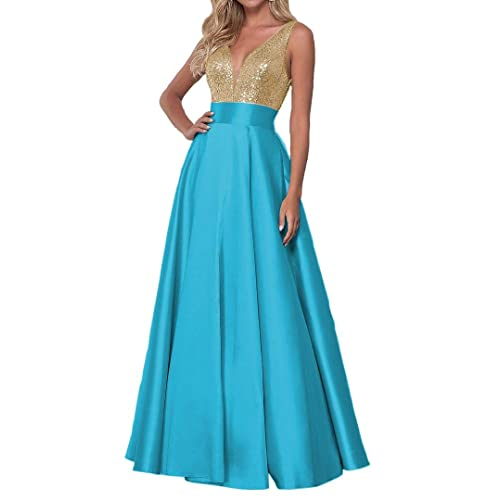 KaiDun Womens Sequined Prom Dresses Long A-Line V-Neck Satin Formal Evening Gowns