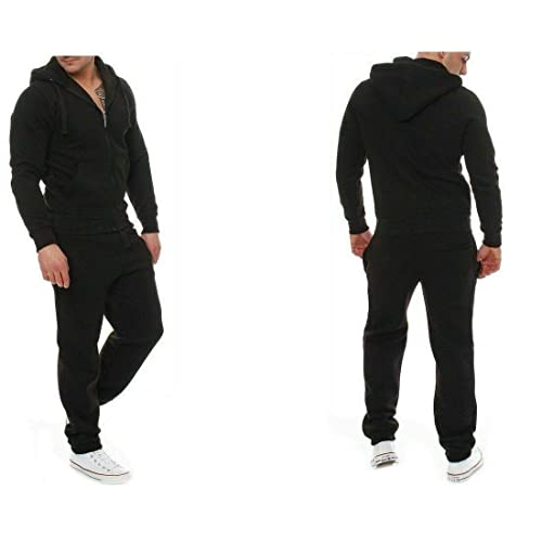 Kratos Attire New Men Plain Zip up Hooded Tracksuit Set
