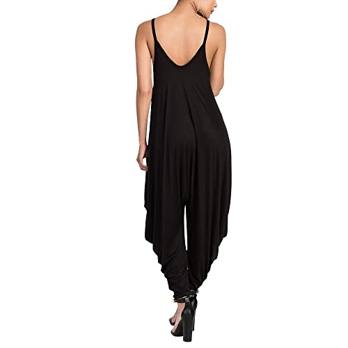Young/_Me Womens Punk Spaghetti Strap Jumpsuit V Neckline Comfy Loose Harem Plus Size