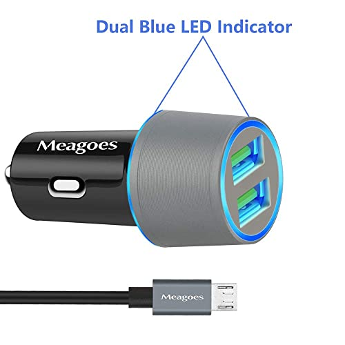 Meagoes Micro USB Car Charger Dual Blue LED Light Car Adapter 4351504603 Compatible Samsung Galaxy J7 V//J7 Prime//J7 Sky pro//J7 Perx//J3 V//J3 Emerge//J3 Eclipse//J3 Luna pro//J3 Prime//J5 Prime//J5 pro//A7//A6//A6+