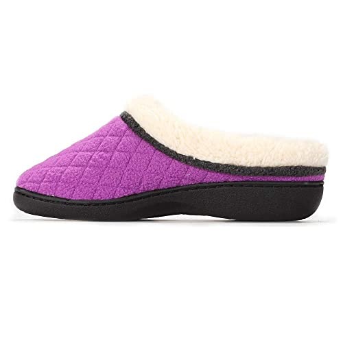 Ladies Bow Slip On Mule Slippers Pink Grey Soft Plush Lining Hard Soles 3-8
