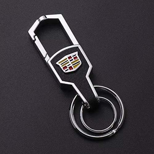 Duoles Genuine Leather Car Logo Keychain for Cadillac Key Ring Accessories for Cadillac