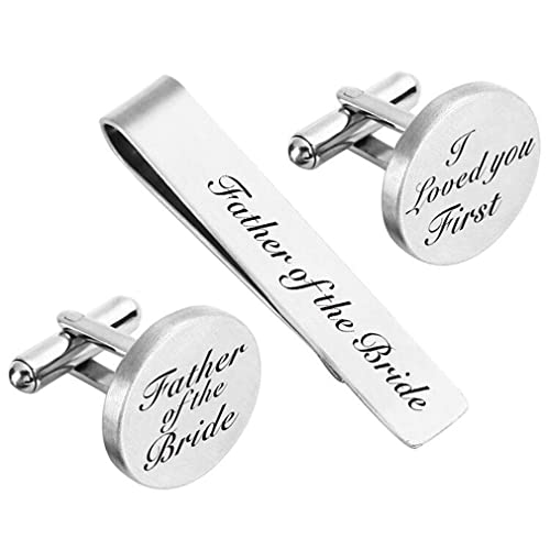 Hazado Father of The Groom Gifts from Daughter in Law Wedding Tie Clips Gifts for Father-in-Law from The Bride Stainless Steel Tie Bars