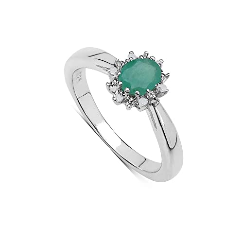 Engagement Ring Mothers Day Beautiful Sterling Silver Oval Emerald /& Diamond Cluster Size H,I,J,K,L,M,N,O,P,Q,R,S,T,U,V The Emerald Ring Collection