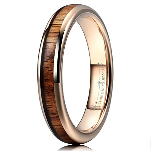 Buy Three Keys Jewelry 4mm Tungsten Wedding Ring Domed With Real