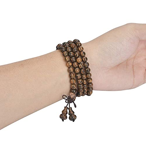 anzhongli Mala Beads Bracelet Necklace for Men Women 6mm 108 Prayer Beads for Meditation Yoga 6mm Natural Wood Beads Elastic Cord