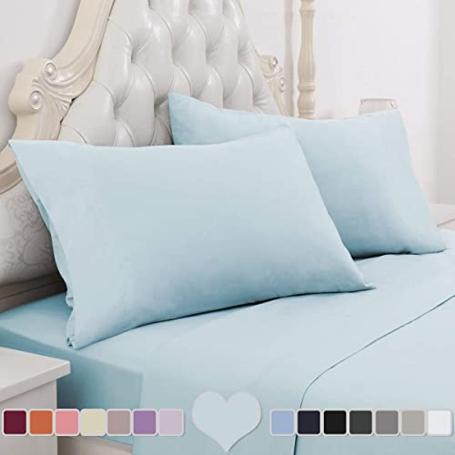 HOMEIDEAS 6 Piece Bed Sheets Set Extra Soft Brushed Microfiber 1800 Bedding Sheets Deep Pocket Wrinkle /& Fade Free Twin,Spa Blue