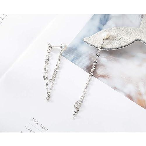 FarryDream 925 Sterling Silver Blue Crystal Droplet Dangle Earrings for Women Teen Girls Slender Threader Earrings
