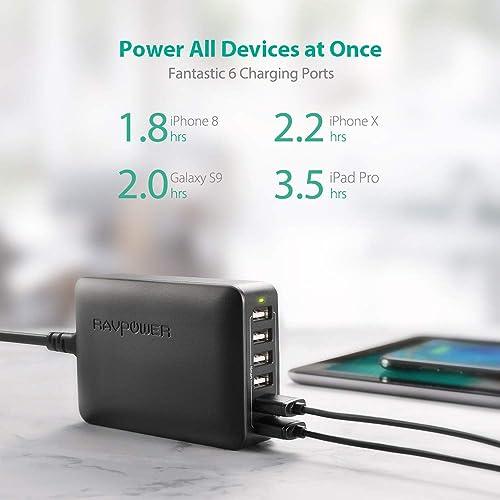 iPad Joyfan USB Plug//Desktop USB Charger 6 Ports Multi Socket Port Rapid Charging Power Adapter for iPhone 7//6//5 Samsung Android