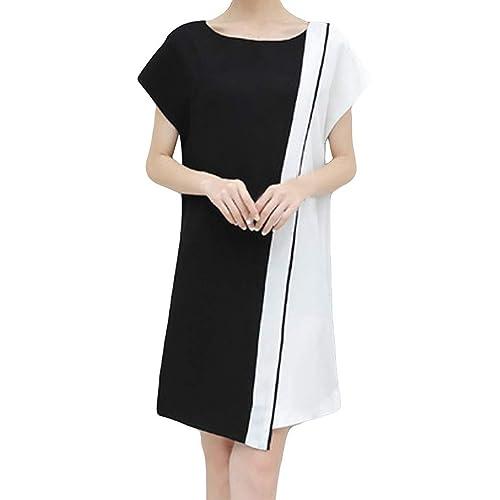 WENOVL Plus Size Dresses,Fashion Women Long Sleeve V Neck Zipper Loose Casual Evening Party Dress