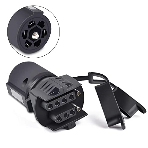 1Pc 7 Pin Round Trailer Plug 7 Way Blade Socket Adapter Connector For Boat RV BT