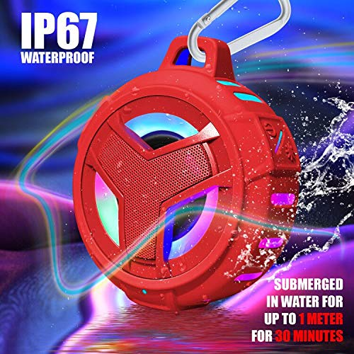 Hands-Free for Shower Floating Beach TWS IP67 Waterproof Outdoor Speaker Wireless with LED Light Pool Waterproof Portable Bluetooth Speakers EBODA Bluetooth Shower Speaker Bike -Black 2000mAh