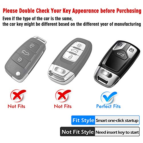 Rose Gold Tukellen for Audi Key Fob Cover Case,Premium Soft TPU 360 Degree Full Protection Key Shell Key Case Cover Compatible with Audi A4L A6L Q5 A5 A7 A8 S5 S7 Keyless Entry/_
