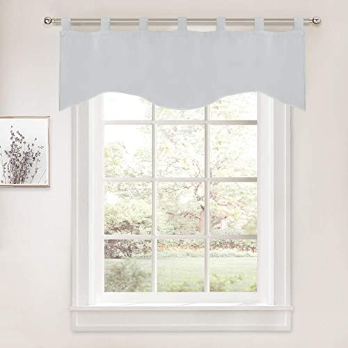 Scalloped Window Tiers Home Decor Covering Rod Pocket Half Curtain Light Blocking Panels for Cafe Kitchen PONY DANCE 18 Valance Curtains Pack-2 42 W x 18 L Black