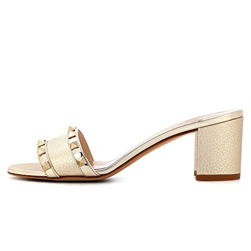 274176fdf65ac Buy Ayercony Rivet Shoes, Block Heel Sandals Open Toe Mule Slippers ...