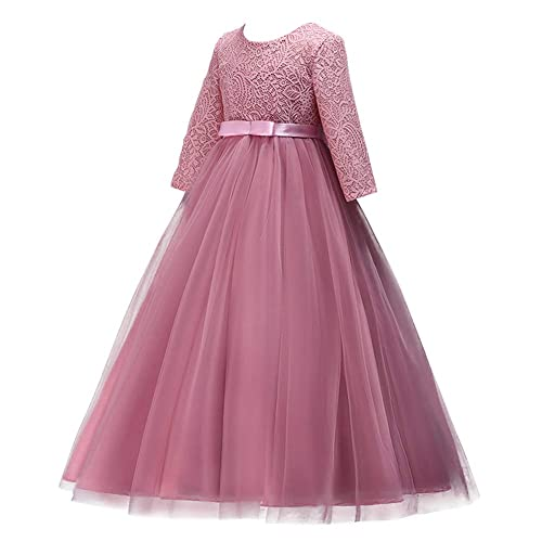 Flower Girls 3//4 Sleeve Deep V-Back Tulle Vintage Lace Wedding Party Long Dress Princess Communion Pageant Maxi Gown