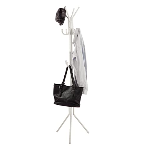 White Finish Metal 3-Tier Coat Rack Hat Purse Display Stand Hall Tree with 11 Hooks