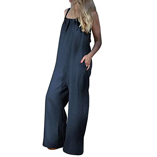 Sobrisah Womens Summer Casual Spaghetti Strap Cotton Linen Jumpsuits Rompers Overalls Dark Blue Tag 5XL