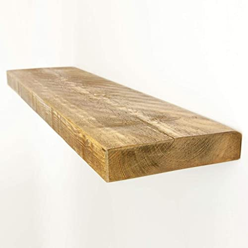 100CM RECLAIMED STYLE CHUNKY FLOATING SHELF RUSTIC WOODEN