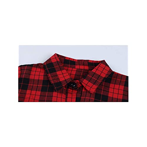 Gooket Girls Plaid Shirt Long Sleeve Belted Button Down Shirt Dresses Flannel Kids Fall Clothes.