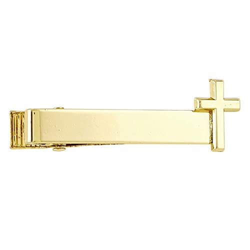 Gold Tone Holy First Communion Tie Bar Clip with Cross 1 1//4 Inch