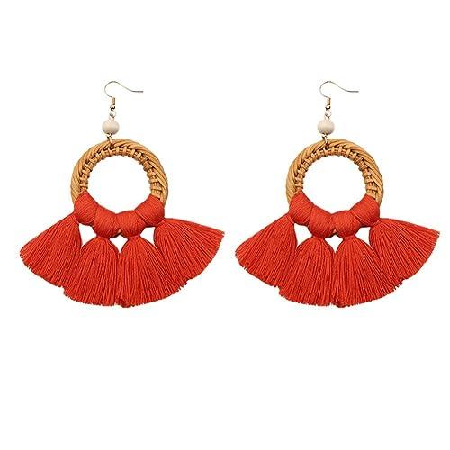 Tassel Hoop Earring Statement Thread Dangle Earrings Stylish Long Fringe Drop Earrings Lightweight Long Swingy French Hook Earrings for Women Girls