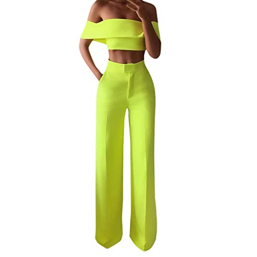 LUXISDE Trousers for Women Fashion Elastic Waist Slim Fit Casual High Waist Loose Lace Wide Leg Pants(S-XL)