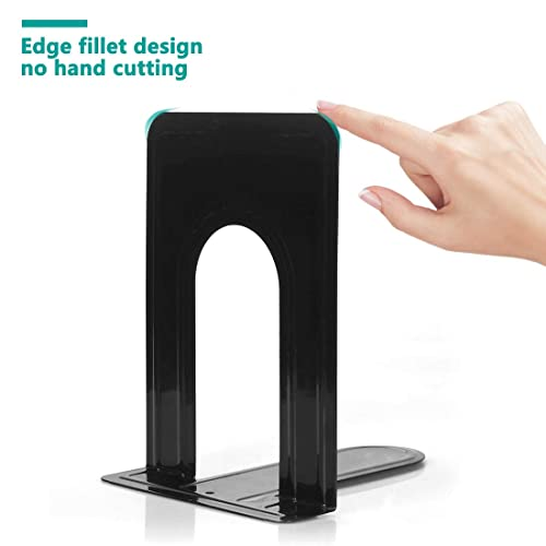 6 x 5 x 6 Inch Set of 3 Pairs Heavy Duty Metal Black Bookend Support for Shelves Offices Bookends