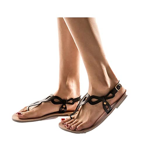Buy Women's Sandals Flats Strap Summer Roman Open Toe Leather Beach Flip  Flops Gladiator Sandals Online in Kuwait. B07Q1N1F7S