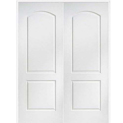 Buy National Door Company Zz365136ba Solid Core Molded 2 Panel Archtop Both Active Prehung Interior Double Door 36 X 80 On 6 9 16 Jamb Mdf Online In Kuwait B07gb1vd8c