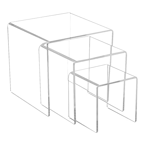 FixtureDisplays Set of 6 Clear Acrylic Display Riser 2,3,4,5, 6, 7 Jewelry Showcase Fixtures 13164-234567 13164-234567