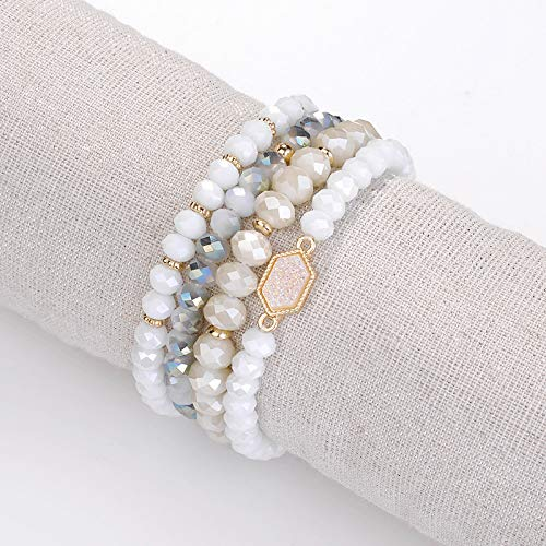 YUJIAXU Gold Beaded Bracelet Set Square Stone Hexagon Druzy Stretch Beaded Stackable Bracelets Bangles