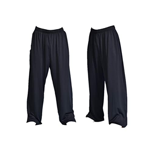 Chenjiagou Martial Arts Taiji Lantern Pants Black Cotton Taichi Practice Pants
