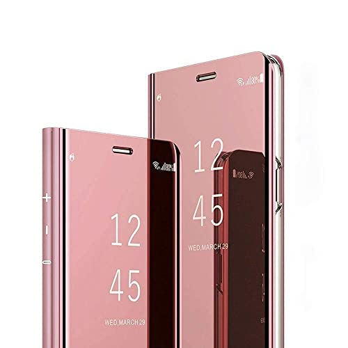 COTDINFOR Mirror Makeup Case For Samsung S8 Plus Luxury Slim View Standing Cover Bright Crystal Clear Flip Kickstand Protective Case for Samsung Galaxy S8 Plus Mirror PU Gold MX.