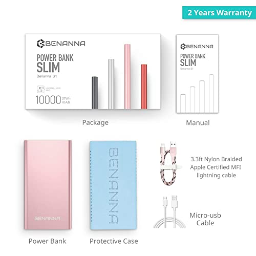 Portable Charger 10000mAh Cell Phone Power Bank Portable Battery Pack External Backup BENANNA Dual Input Compatible with iPhone X XS Max XR 8 7 6 Plus Se Android Galaxy Note iPad LG Rose Gold Pink