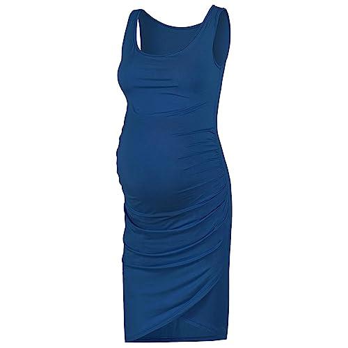 Buy Rnxrbb Women Summer Maternity Dress Sleeveless Bodycon Maternity Ruched Tank Dress Work Pregnancy Clothes Midi Length Navy S Online In Kuwait B07rqjn267