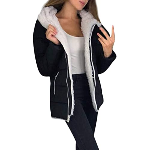vermers Womens Winter Coats Hooded Long Sleeve Warm Thicken Zipper Jackets Fashion Parkas Outerwear with Pockets